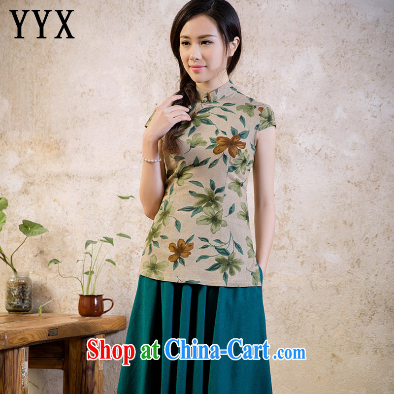 Stakeholders line cloud National wind girls cotton load the stamp cheongsam shirt short-sleeved College wind load Chinese shirt AQE 2062 fancy XXL