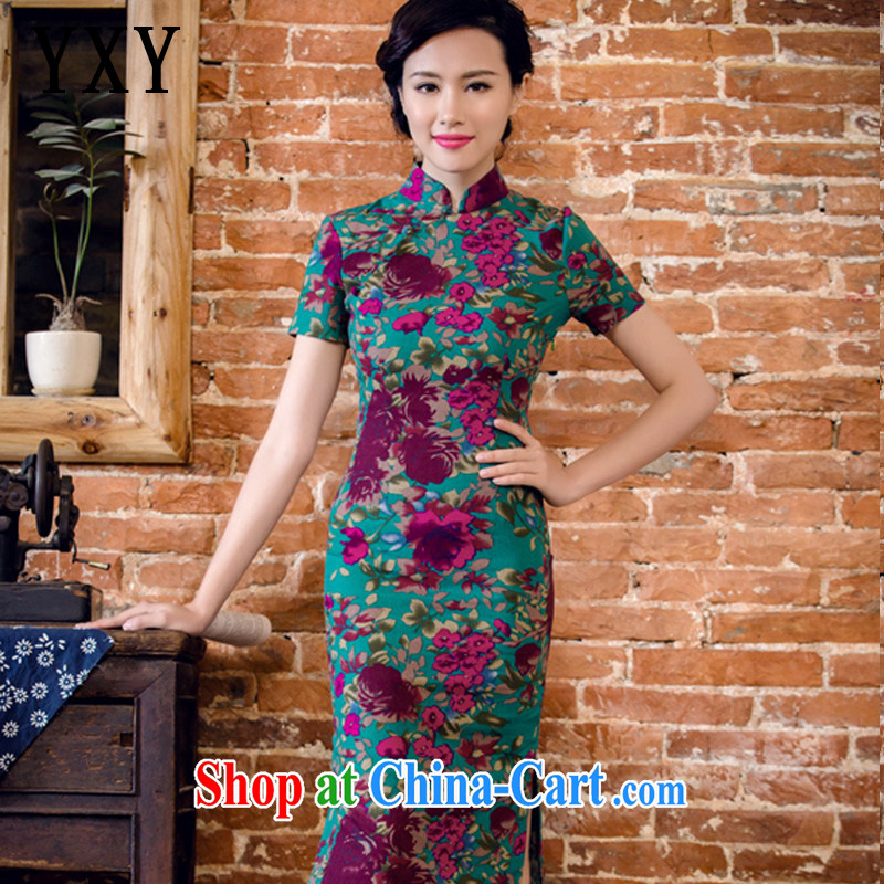 The stakeholders in the cloud, long summer dresses short sleeve cheongsam dress antique Chinese cotton Ma dresses ethnic wind women 2062 AQE Aloeswood M