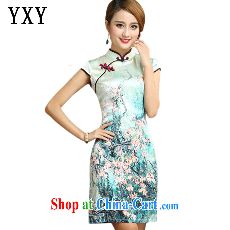 Stakeholders line Cloud Standard floral silk short qipao beach on Chinese Antique mulberry Silk Cheongsam dress AQE 004 Map Color XXL