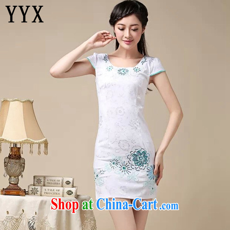 Death Row cloud arts small fresh lady aura short cheongsam dress beauty graphics thin retro dress dresses AQE 0762 blue XXL