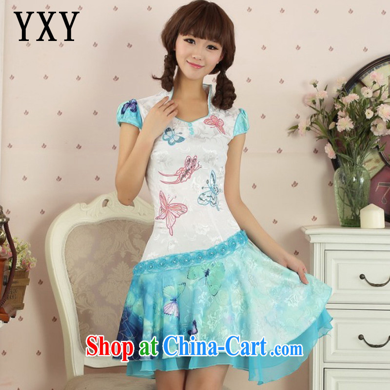 Stakeholders line cloud summer Beauty Fashion dresses, dresses retro girls improved daily Korea Chinese AQE 3428 blue XL