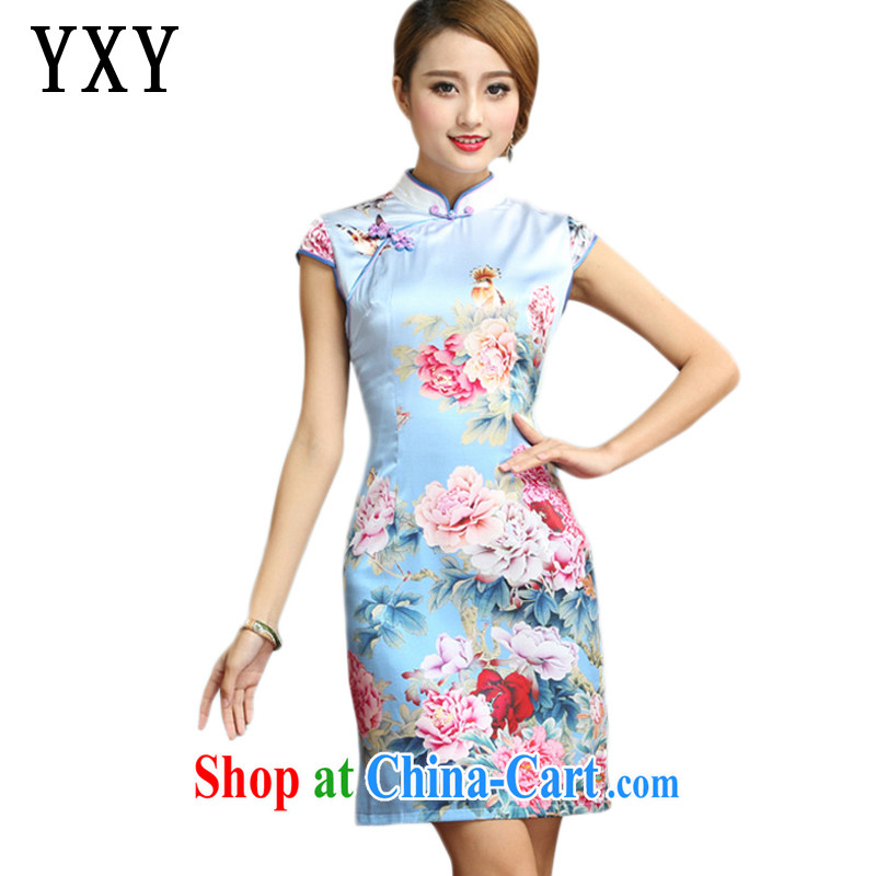 Stakeholders line cloud elegant refined antique Silk Cheongsam Chinese summer short-sleeved floral cheongsam dress AQE 008 Map Color XXL
