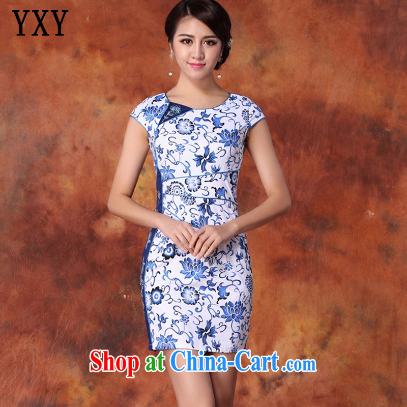 Death Row cloud retro improved daily goods short-sleeve cultivating charisma cheongsam dress AQE 1019 blue and white porcelain XXL