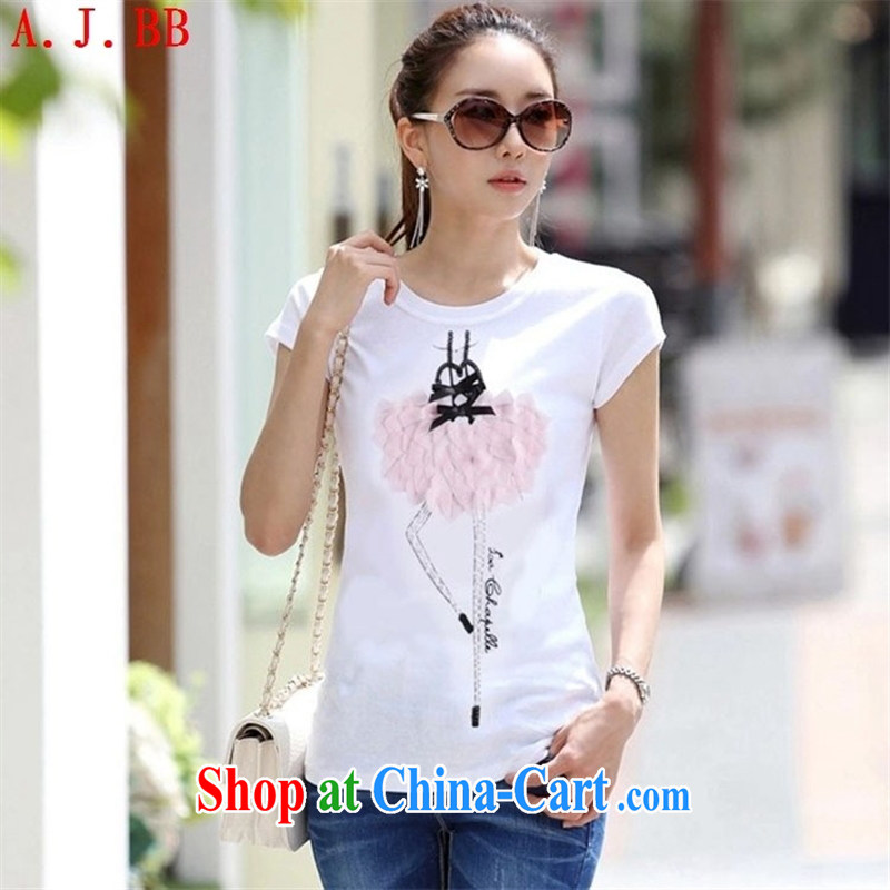 Black butterfly pre-sale 2015 T-shirts female short-sleeve 2015 summer new female white half sleeve T-shirt large, cultivating small T-shirt white XXL