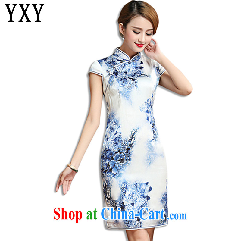 Stakeholders line high-end heavy Silk Cheongsam dress 2015 summer sauna silk old Shanghai cheongsam dress AQE 010 blue and white porcelain color XXXL