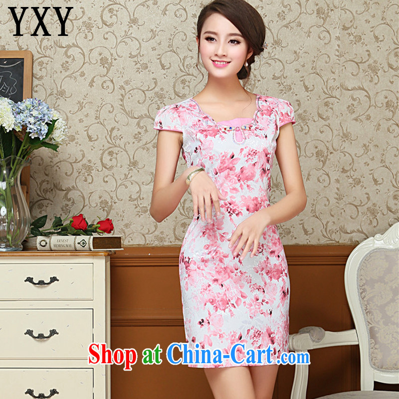 Stakeholders line cloud green floral and the relatively short summer dresses beauty antique cheongsam dress improved daily Tang replace AQE 009 red XXL