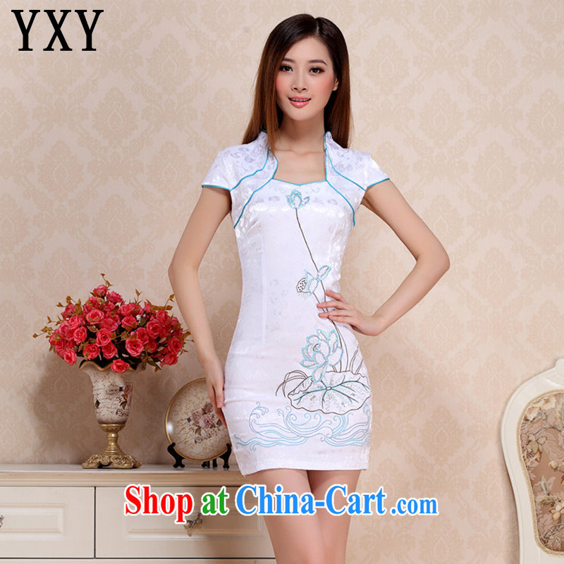 Stakeholders line cloud embroidery Lotus antique dresses Korea modern improved daily qipao dresses AQE 0712 blue XXL