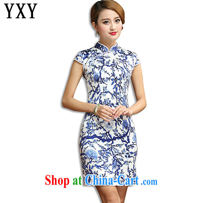 Death Row cloud antique porcelain was Silk Cheongsam elegance beauty short cheongsam dress sauna Silk Dresses AQE 011 blue and white porcelain XXXL