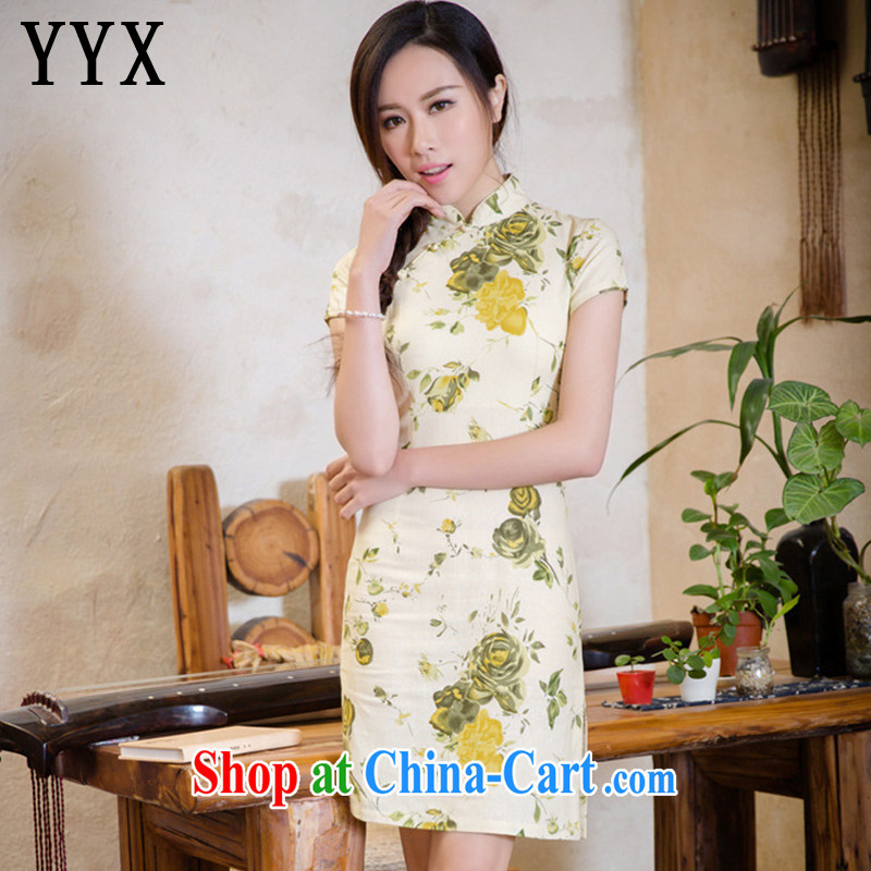 Death Row cloud elegance beauty short-sleeved cotton the cheongsam retro style improved short code the cheongsam dress AQE 2088 WONG of red XXL