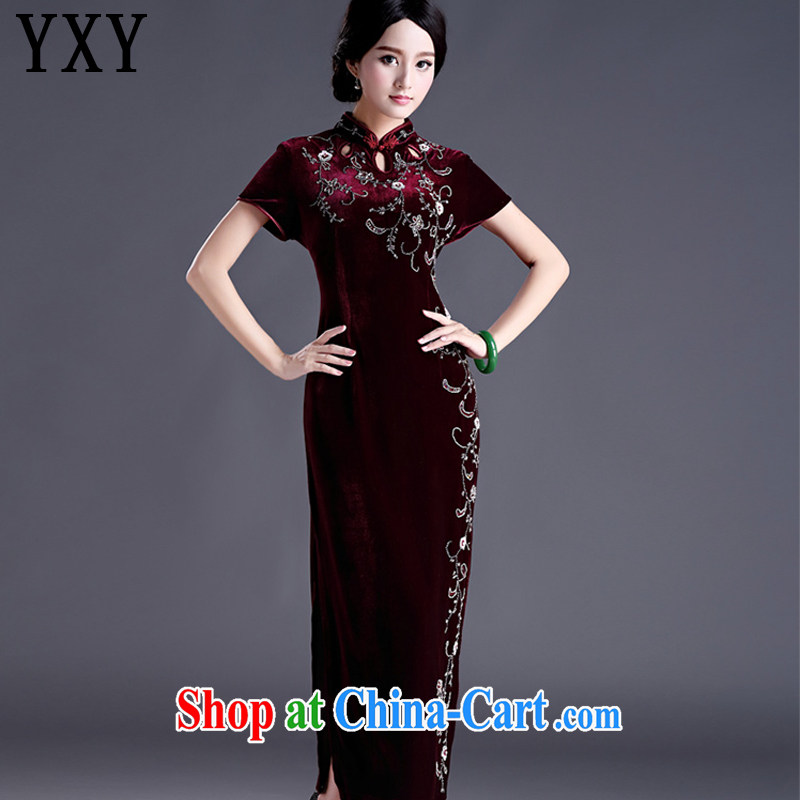 Stakeholders line cloud cultivating the cheongsam dress code length, the velvet cheongsam dress MOM retro wedding dress uniform toast AQE 012 maroon short-sleeved XXXXL