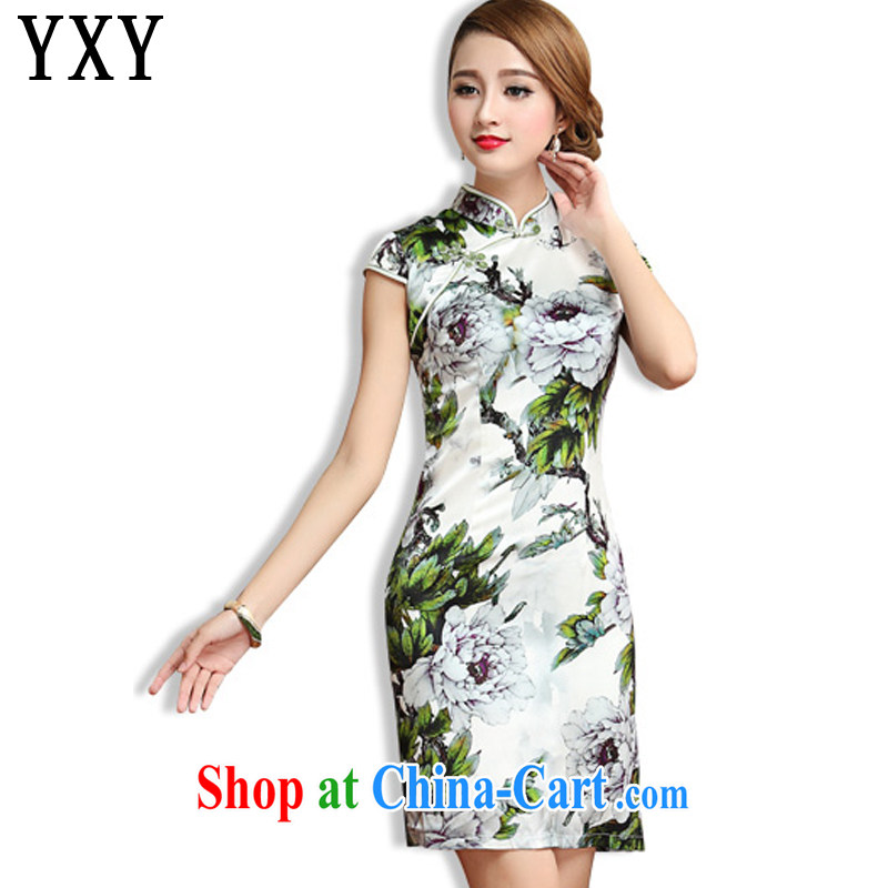 Stakeholders line cloud 2015, summer heavy Silk Cheongsam retro beauty short-sleeved sauna Silk Cheongsam dress AQE 013 green XXL