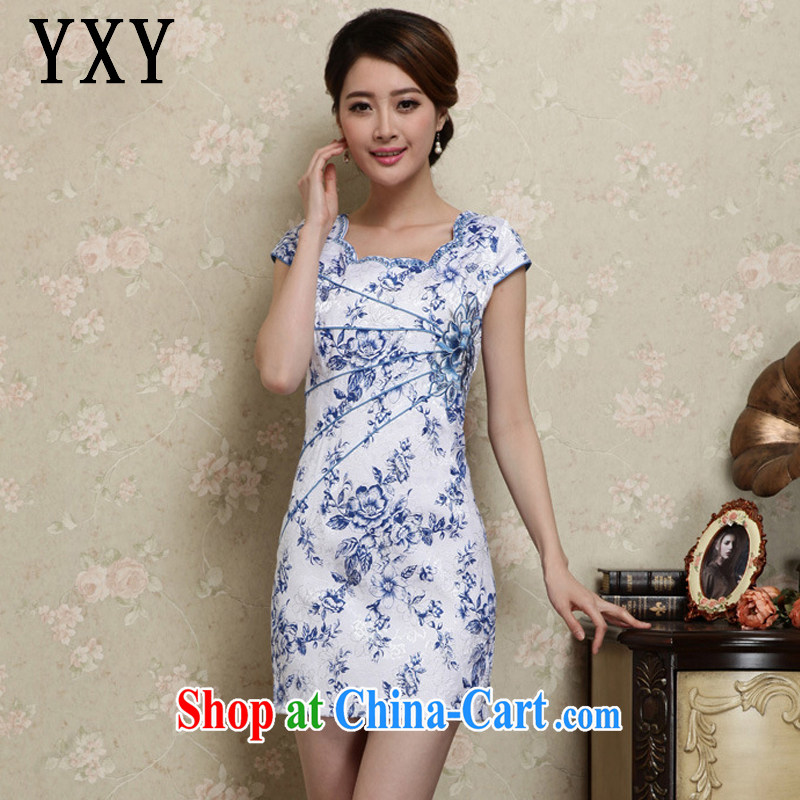 Stakeholders line cloud summer decoration, short dresses retro improved daily Korea fashion round collar dress AQE 1020 blue and white porcelain XXL