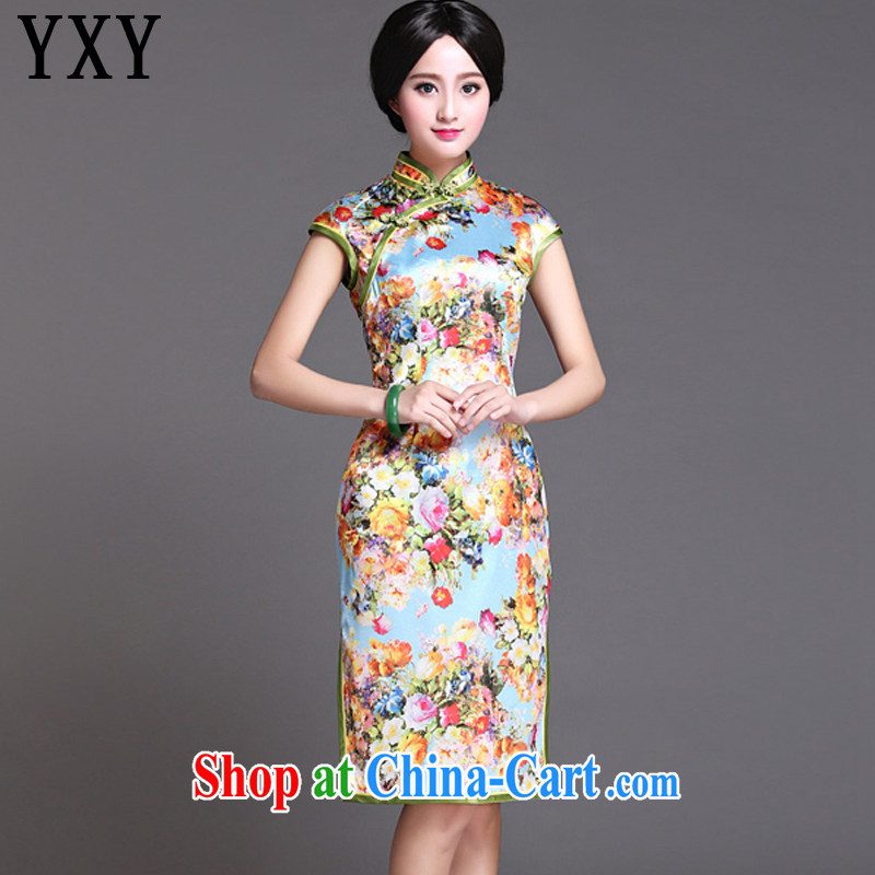 Death Row cloud retro style heavy Silk Cheongsam elegance short-sleeved, long cheongsam AQE 017 Map Color XXXL