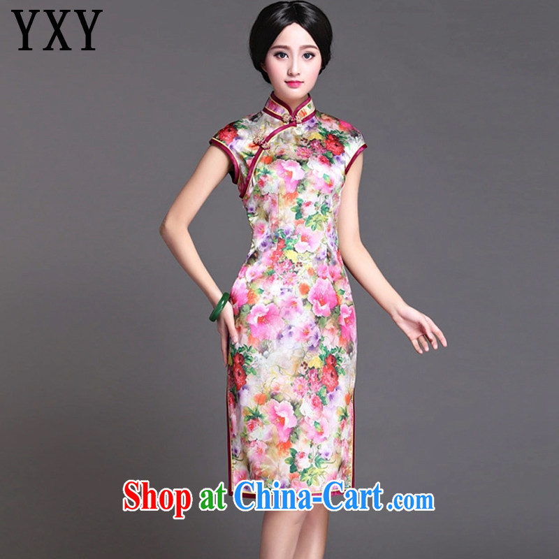 At stake line cloud National wind female spring and summer floral heavy silk flag fashion long dress dresses AQE 019 Map Color XXXL