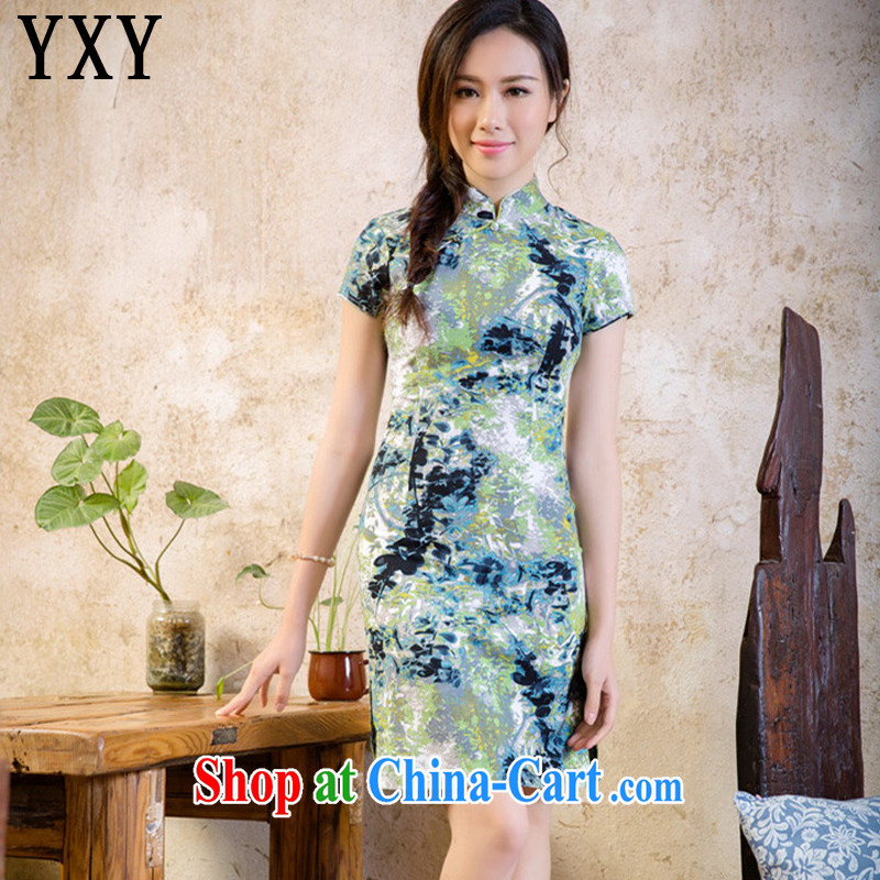 Stakeholders line cloud short cheongsam dress low-power's sense of cultivating the cotton robes, dresses AQE 2088 cloud rock XXL