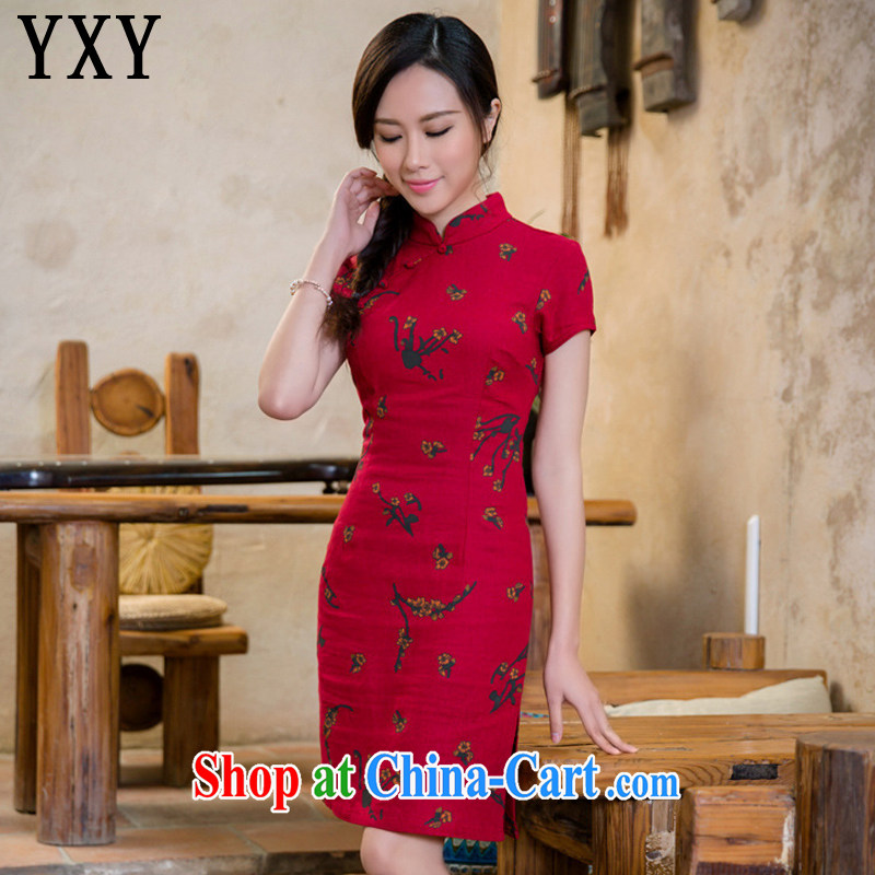 At stake line cloud cotton the cheongsam retro fashion linen dresses dresses China wind female AQE 2088 Samui red XXL