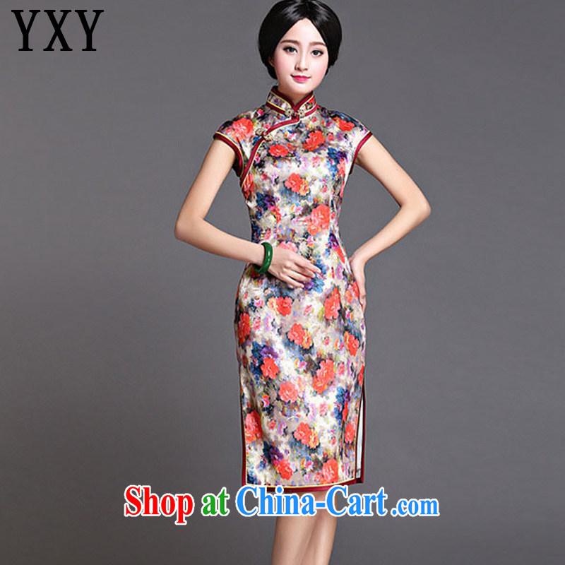 Stakeholders line cloud Original Design silk dresses, long, China wind standard sauna silk dress dresses AQE 022 Map Color XXXL