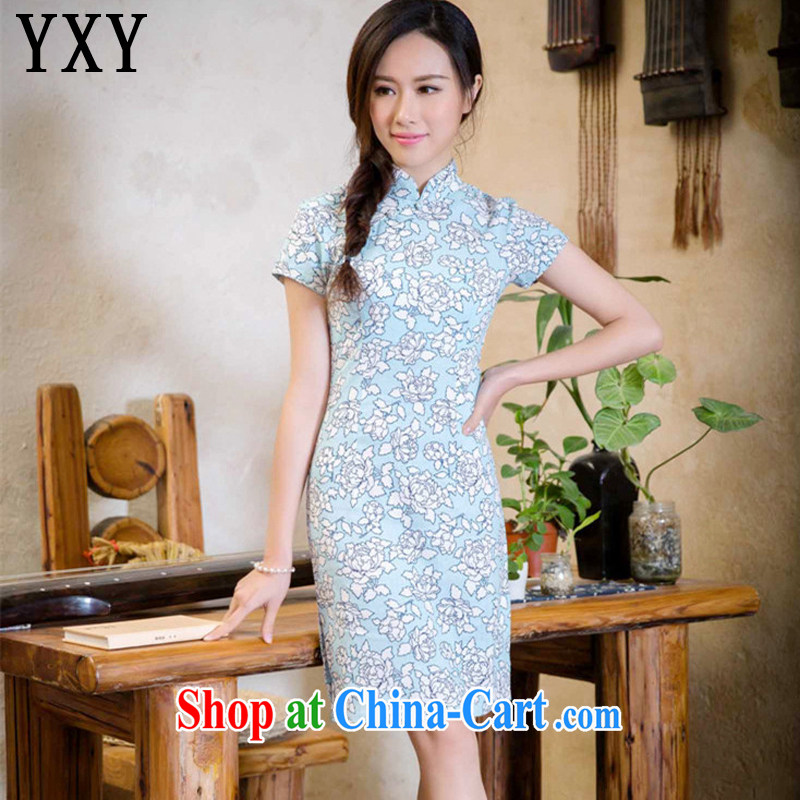 Stakeholders line cloud summer short low-power's sense of cotton the cheongsam dress improved daily cheongsam dress AQE 2088 if LAN XXL