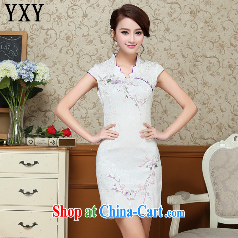 Stakeholders line cloud China wind dress embroidery Phillips-short cheongsam improved day-dress cheongsam dress AQE 329 white XXL