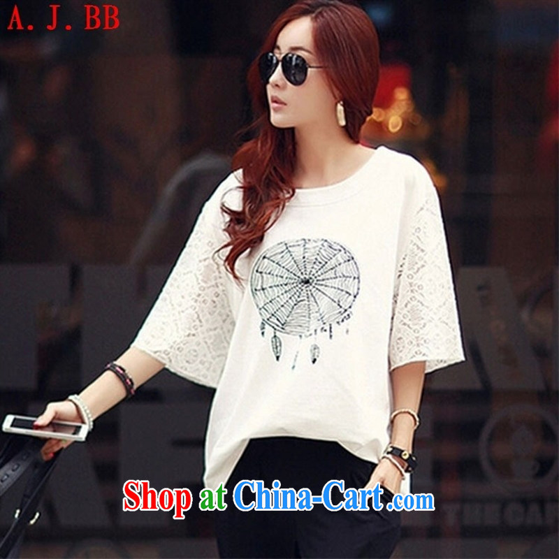 Black butterfly 2015 new loose cotton larger female Korean version 7 cuff Openwork T pension white XXL