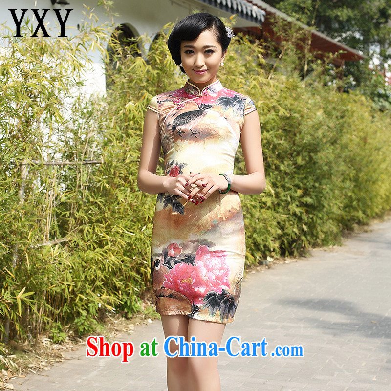 Stakeholders line cloud China wind dress retro fashion Silk Cheongsam dress heavy mulberry Silk Dresses AQE 8051 Map Color XXXL