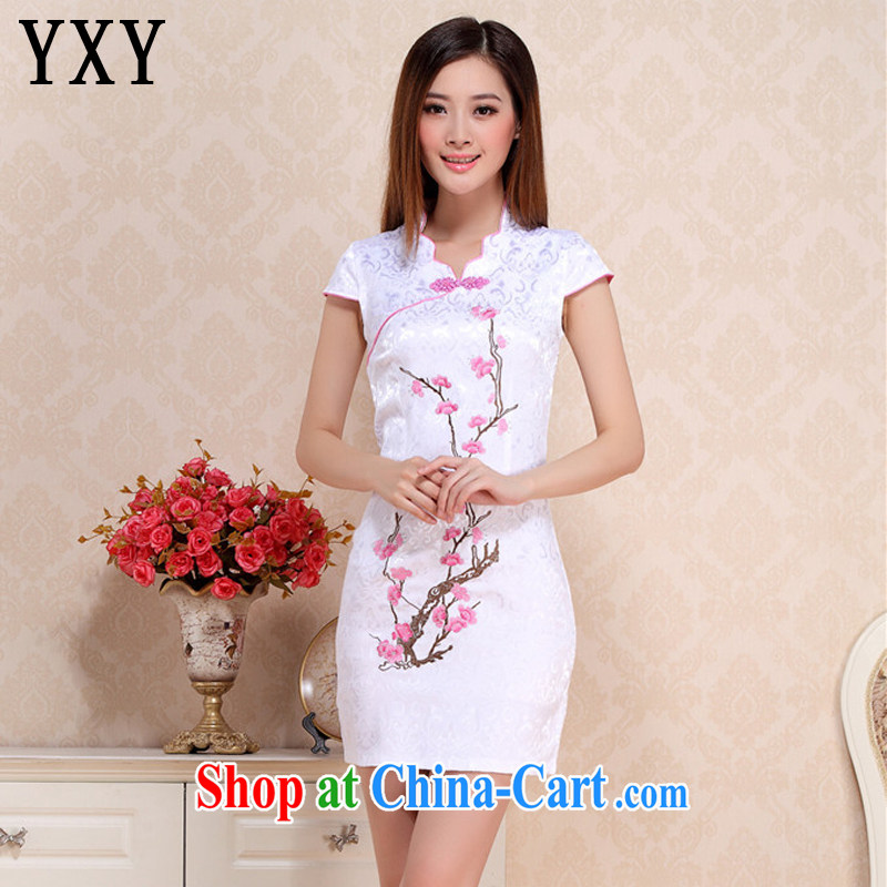 Stakeholders line cloud embroidery phillips-cultivating short dresses retro style daily outfit dress short-sleeved summer dress AQE 0760 pink XXL