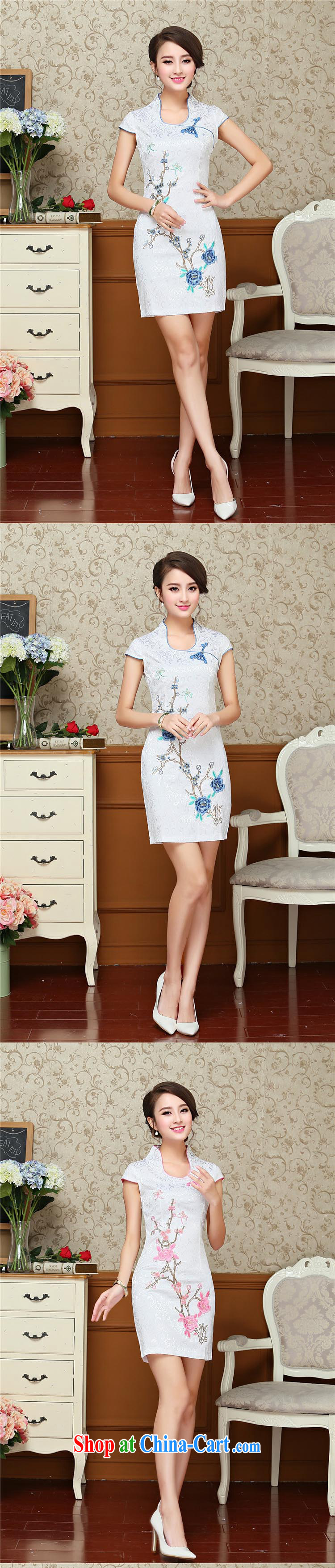 Stakeholders line cloud Chinese antique dresses summer white blue embroidery cheongsam dress improved daily female Chinese AQE 618 pink XXL pictures, price, brand platters! Elections are good character, the national distribution, so why buy now enjoy more preferential! Health