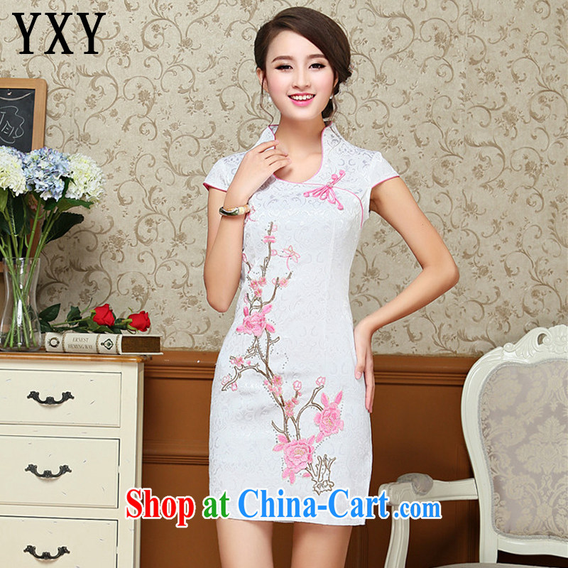Stakeholders line cloud Chinese antique dresses summer white blue embroidery cheongsam dress improved daily female Chinese AQE 618 pink XXL