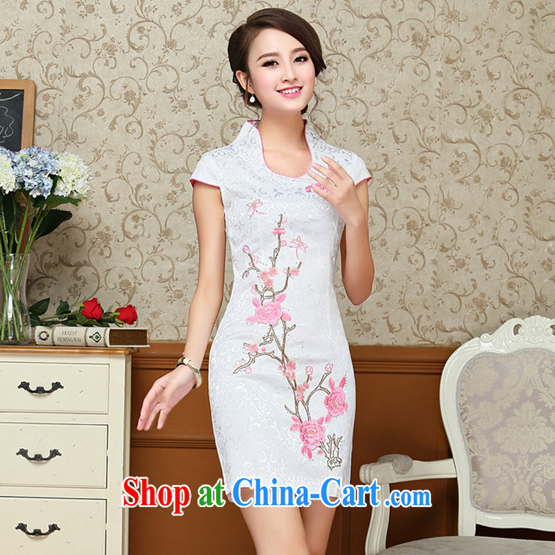 Stakeholders line cloud Chinese antique dresses summer white blue embroidery cheongsam dress improved daily female Chinese AQE 618 pink XXL stakeholders, the cloud (YouThinking), and, on-line shopping