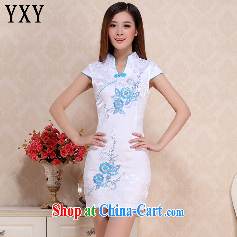 Death Row cloud summer retro beauty short cheongsam lady literary aura girl cheongsam dress uniform performances AQE 0711 blue XXL