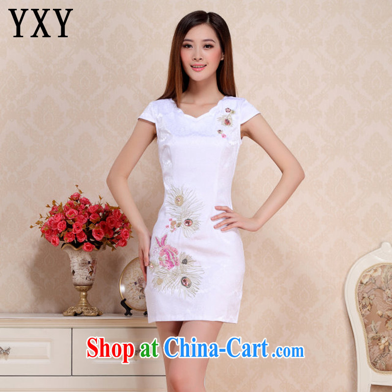 Stakeholders line cloud round-collar short cheongsam retro improved day-students of cheongsam dress AQE 0738 white XXL