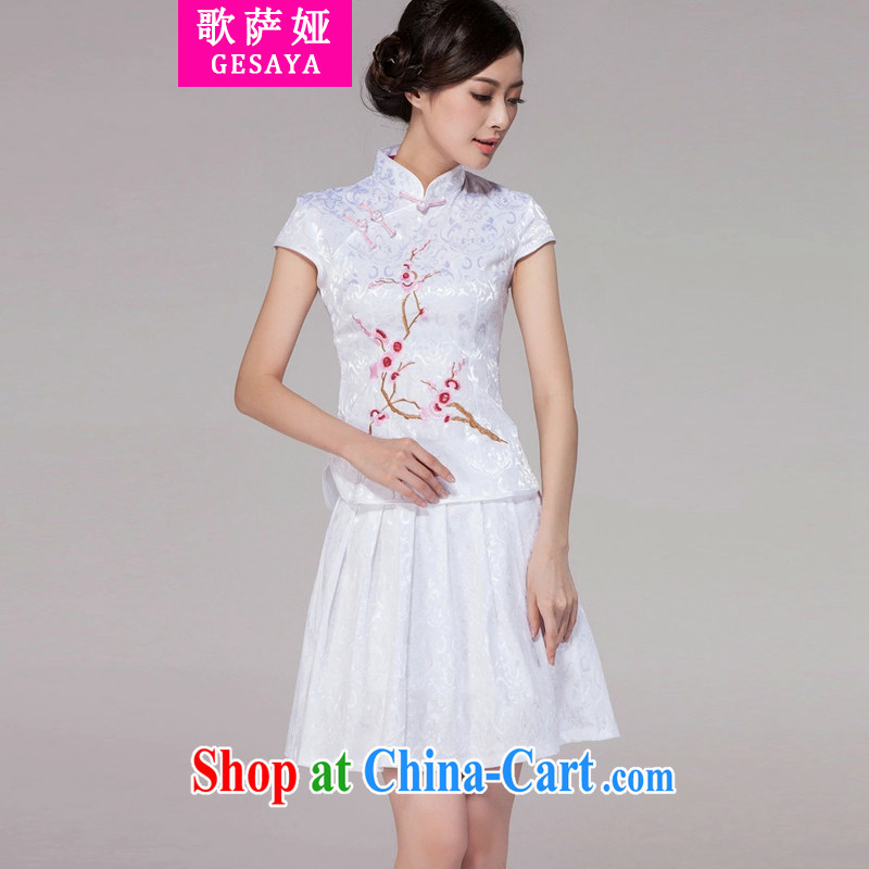 The song Julia summer 2015 new female Chinese qipao day dresses high-end retro style two-piece with white XXL