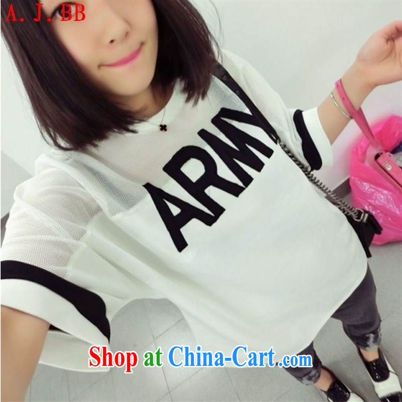 Black butterfly 2015 spring new Korean female letters Web yarn stitching bat sleeves loose T-shirt black are code