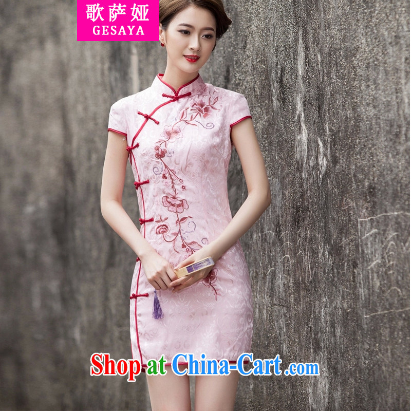 The song Julia summer 2015 new Chinese Antique improved stylish short day cultivating cheongsam dress pink L