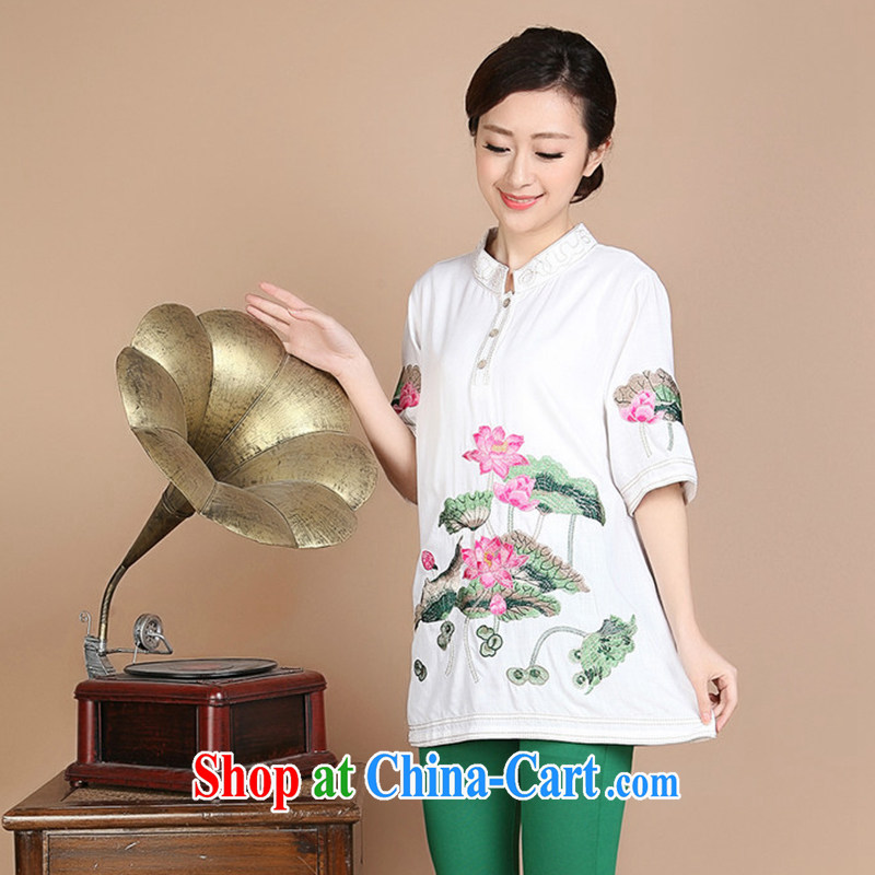 Nest, summer 2015 New National wind Lotus embroidery, older mothers in long, short-sleeved shirt T white XL