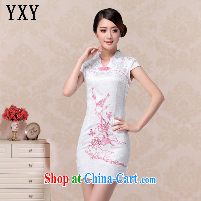 Stakeholders line cloud summer fashion beauty bird embroidery cheongsam short-sleeved retro improved daily Chinese qipao AQE 637 pink XXL