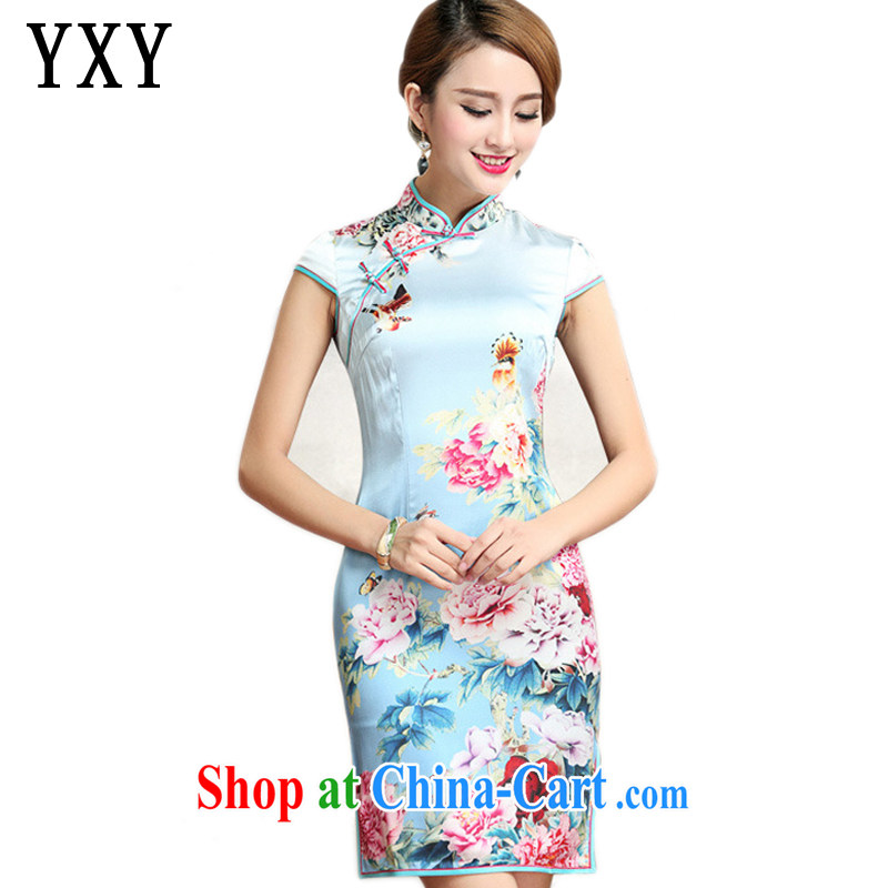Stakeholders line cloud heavy silk peony flower cheongsam retro improved daily sauna Silk Cheongsam dress AQE 023 Map Color XXXL