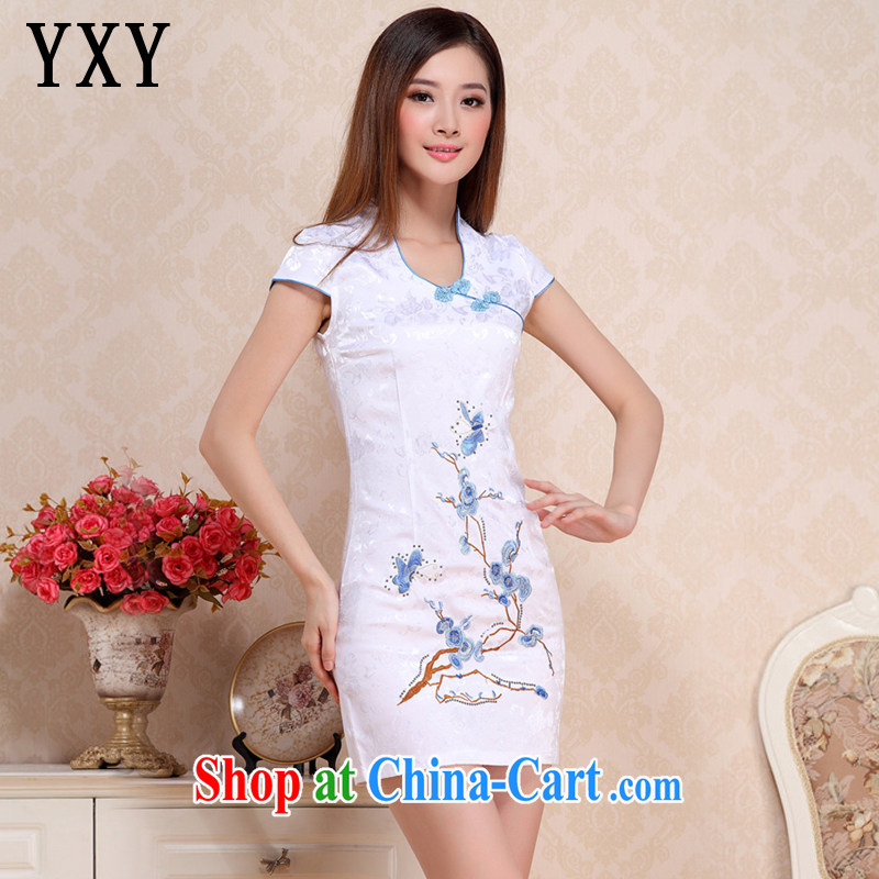 Stakeholders line cloud summer embroidery Phillips short cheongsam classical style cheongsam dress Chinese etiquette serving AQE 0718 blue XXL