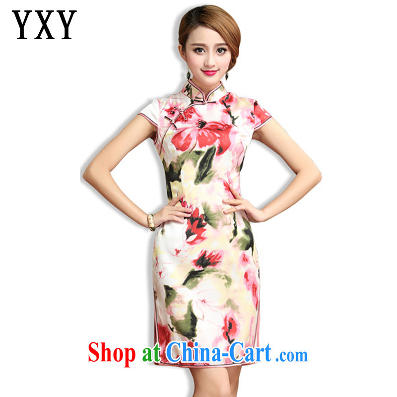Stakeholders line cloud classical Chinese Dress heavy silk mulberry Silk Cheongsam dress Korea Chinese female summer AQE 024 floral XXXL