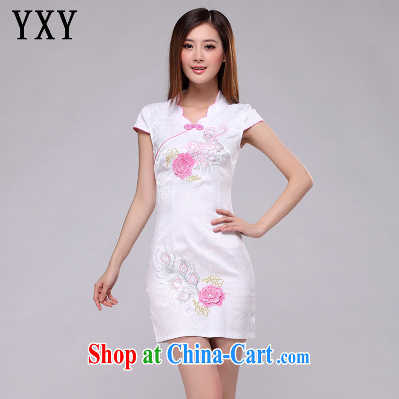 Death Row cloud embroidered classic elegance on dresses beach retro fashion cheongsam dress AQE 0750 pink XXL