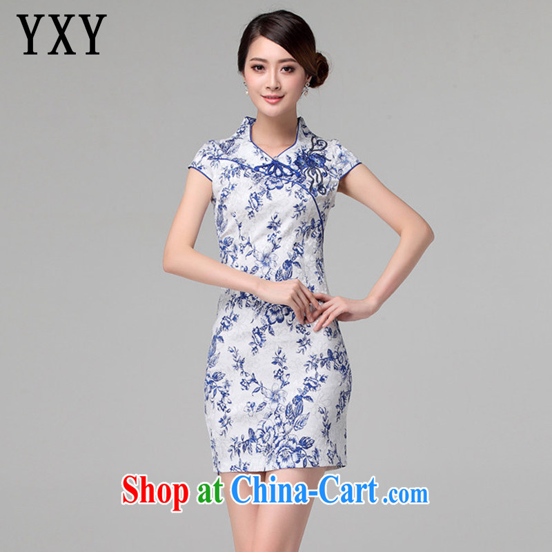 Stakeholders line cloud antique porcelain was stamp duty cheongsam Chinese improved daily short Ki robe-summer female AQE 802 blue and white porcelain XXXL