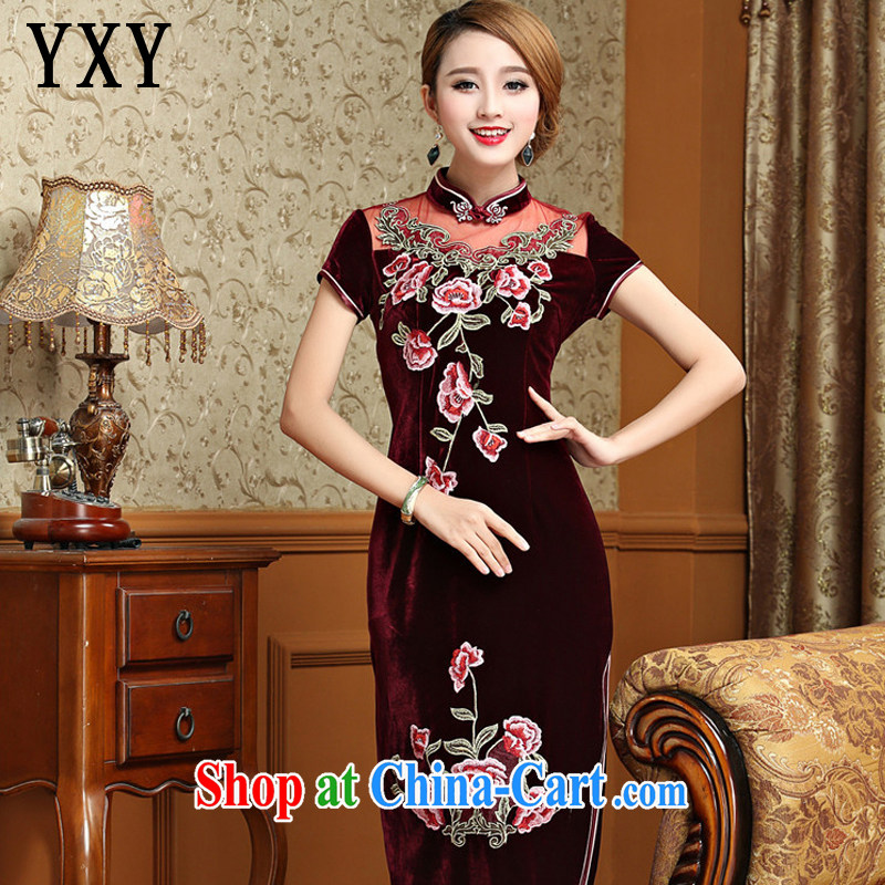 Stakeholders line Cloud Standard gold velour cheongsam dress, long, short-sleeved wedding dress retro toast AQE serving 025 maroon XXXL