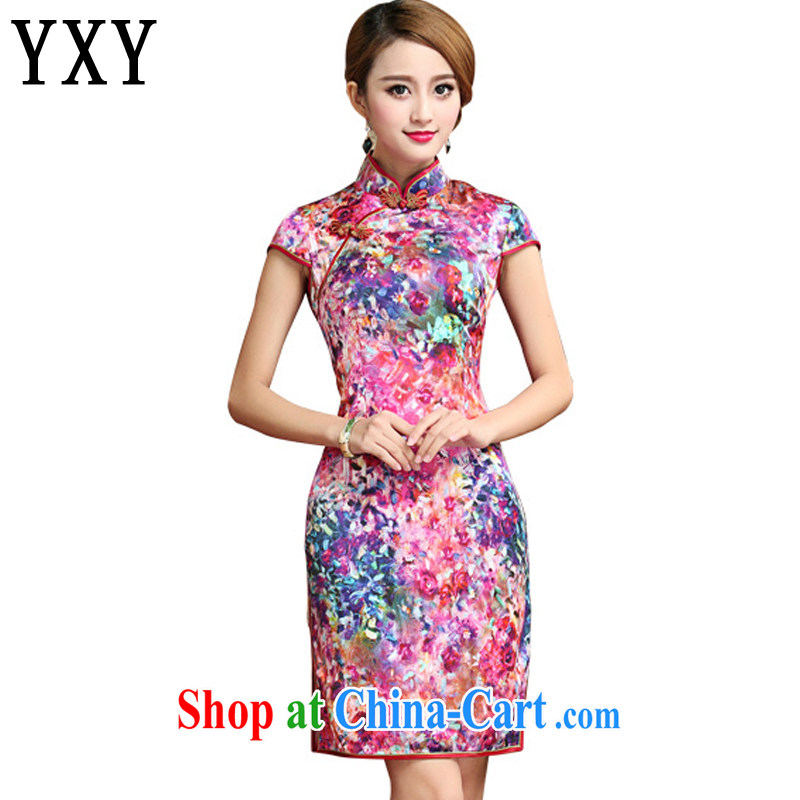Stakeholders line cloud Silk Cheongsam dress 2015 summer sauna silk Chinese Dress dress short cheongsam AQE 028 Map Color XXL