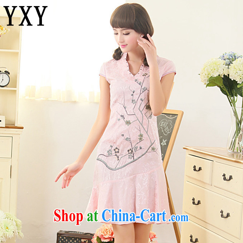 Stakeholders line cloud summer wear and Stylish retro dresses improved daily cheongsam dress Ethnic Wind Korea Tang replace AQE 3386 pink XL