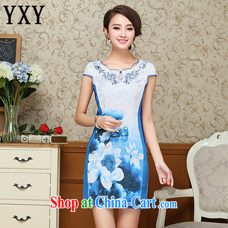 Stakeholders line cloud stylish embroidery flower cheongsam cotton improved daily cheongsam dress Korea Tang with elegant female AQE 1025 blue XL