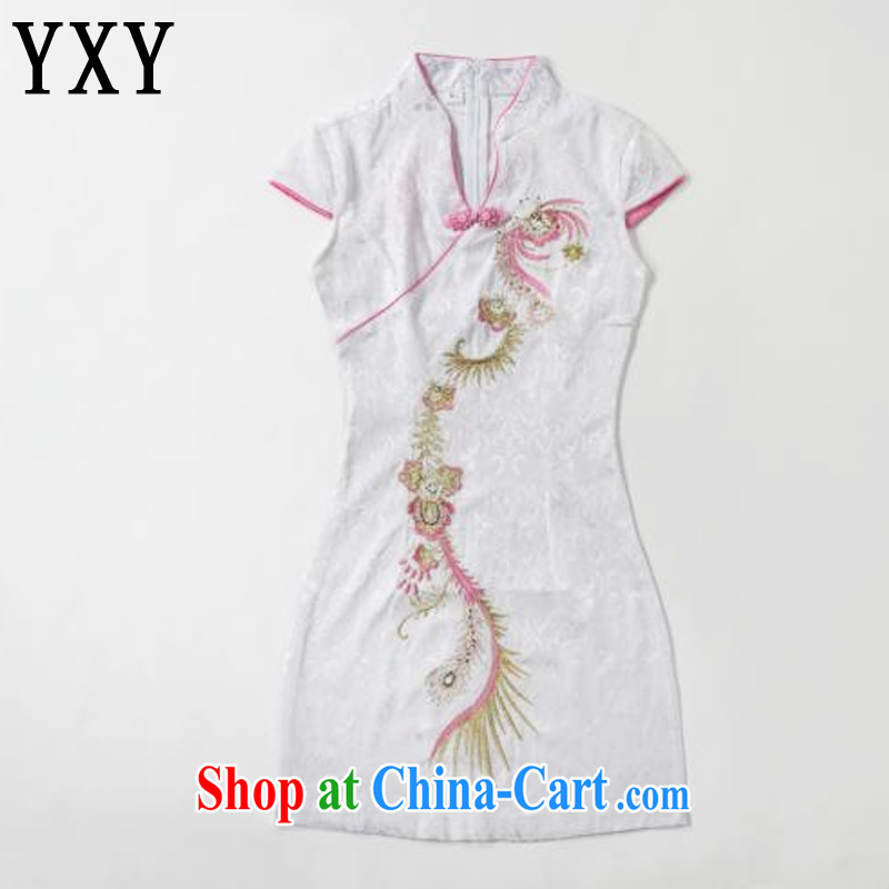 Stakeholders line cloud retro embroidery Phoenix short-sleeved qipao improved daily dresses, dresses of Korea Tang women AQE 613 pink XXL