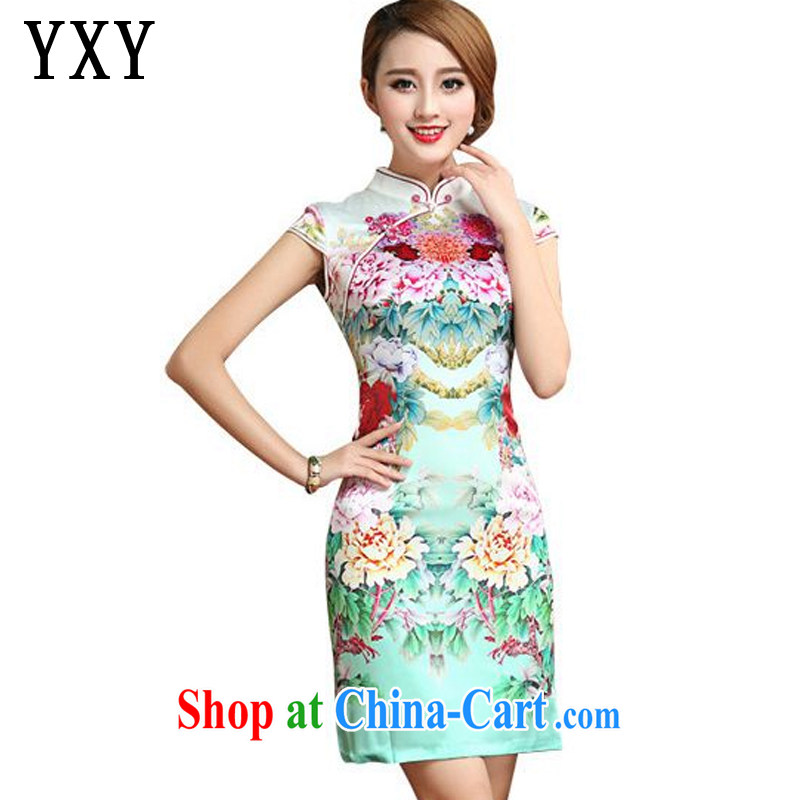 Stakeholders line cloud summer short-sleeved Silk Cheongsam dress retro stylish upmarket sauna Silk Dresses small dress AQE 026 Map Color XXL