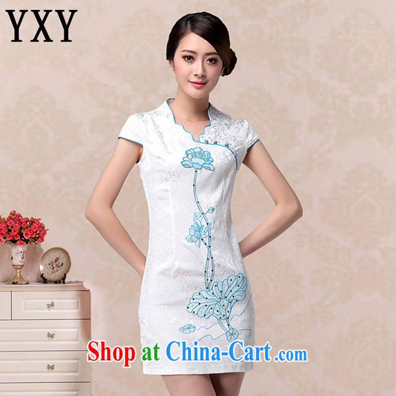 Death Row cloud lady aura V for cultivating dresses retro improved fashion cheongsam dress embroidered Lotus dresses AQE 658 blue XXL