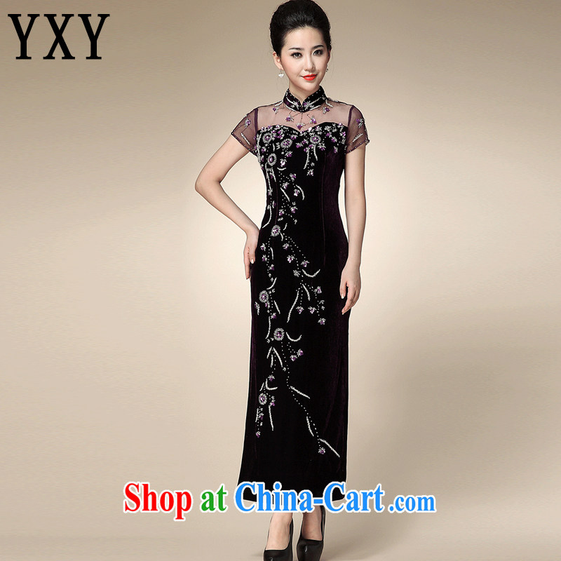 Stakeholders line Cloud really wool lace cheongsam middle-aged mother cheongsam dress bows dress Tang replace AQE 210 purple XXXXL