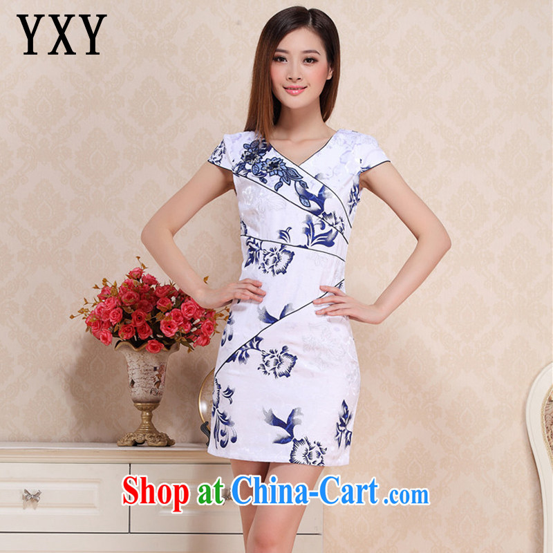 Death Row cloud summer retro improved daily cheongsam beauty graphics thin floral cheongsam dress Korea elegance dresses AQE 0719 blue and white porcelain XXL
